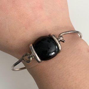 Vintage silver bangle bracelet with black bead